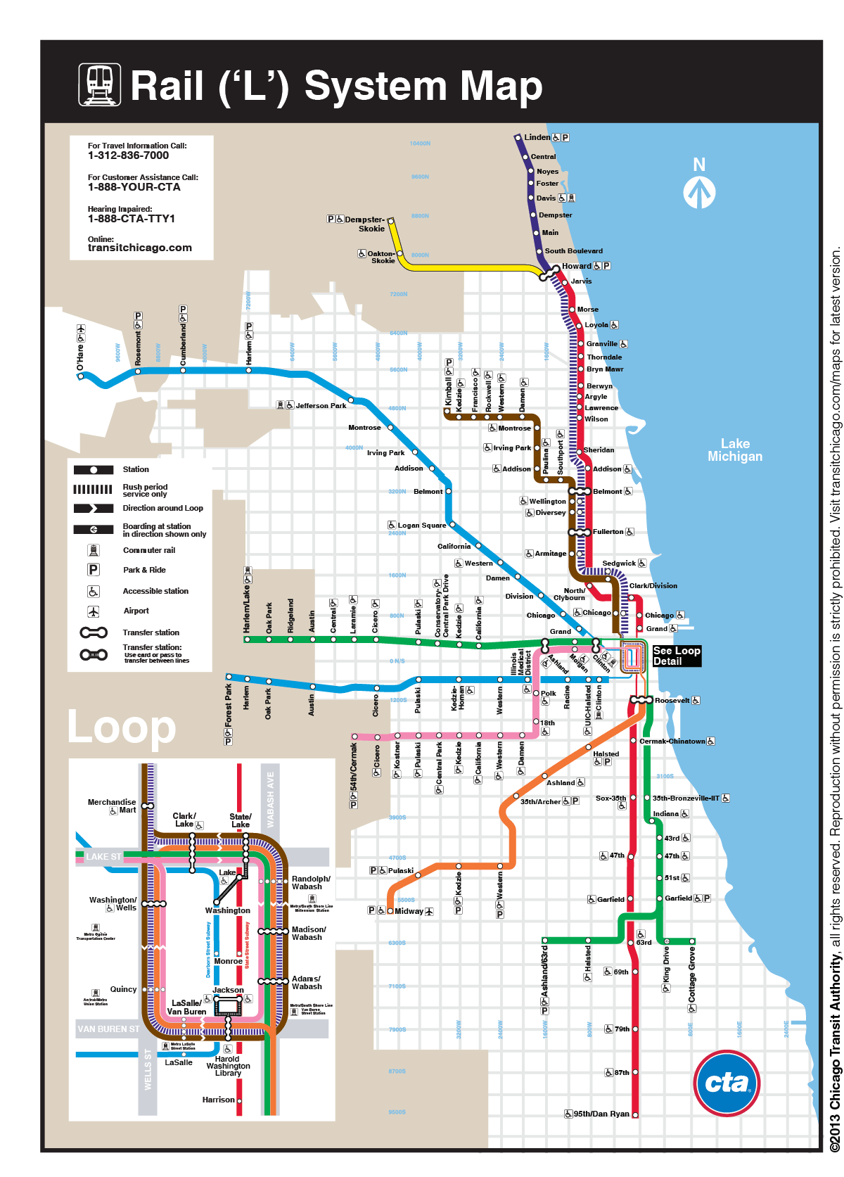 Chicago CTA Rail L System Map Metro Maps Pinterest - Chicago map miracle mile