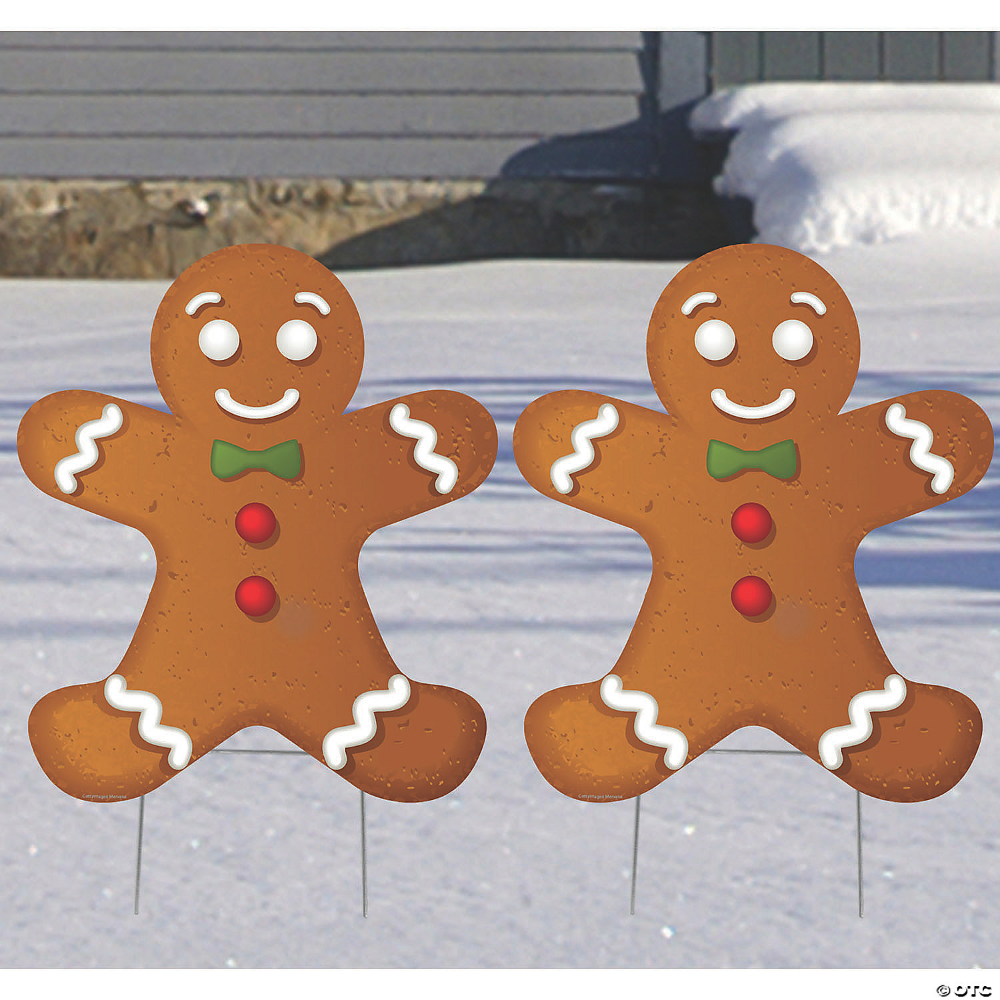 Gingerbread Men Yard Signs Oriental Trading In 2021 Candy Christmas Decorations Christmas Decorations Diy Outdoor Wooden Christmas Yard Decorations
