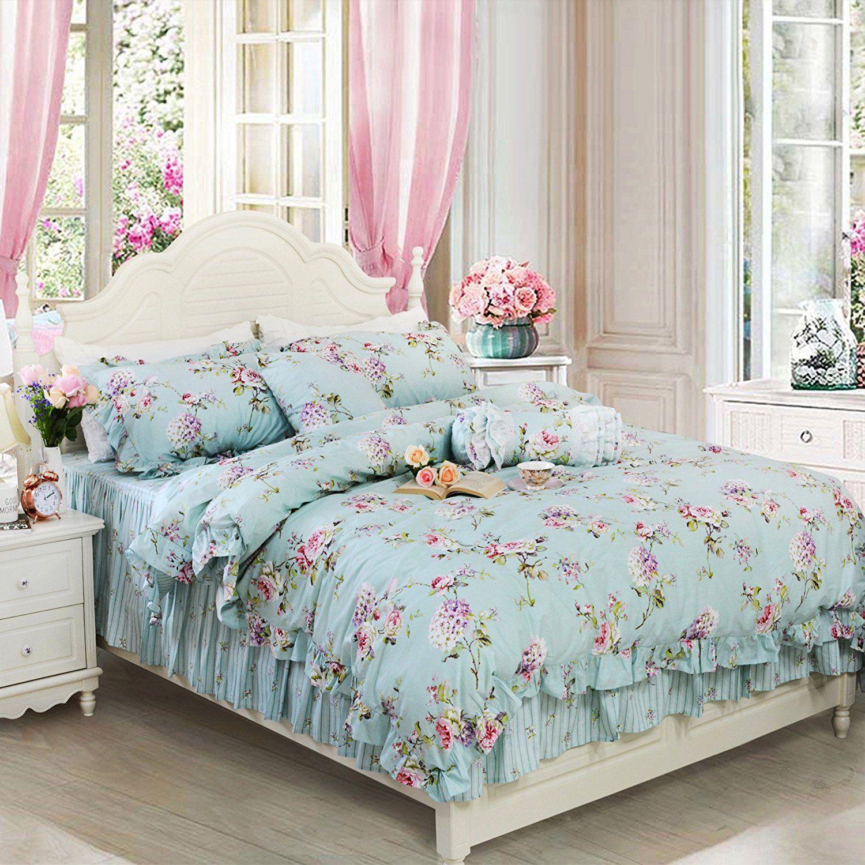 Fadfay Shabby Blue Floral Bedding Set Vintage Floral Print Bedding