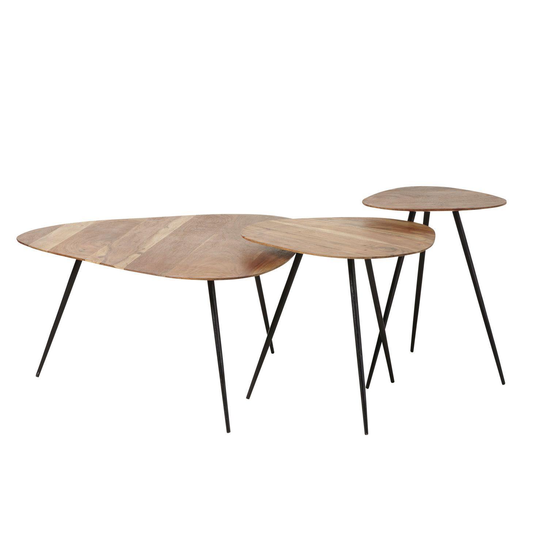tables gigognes en acacia et metal noir