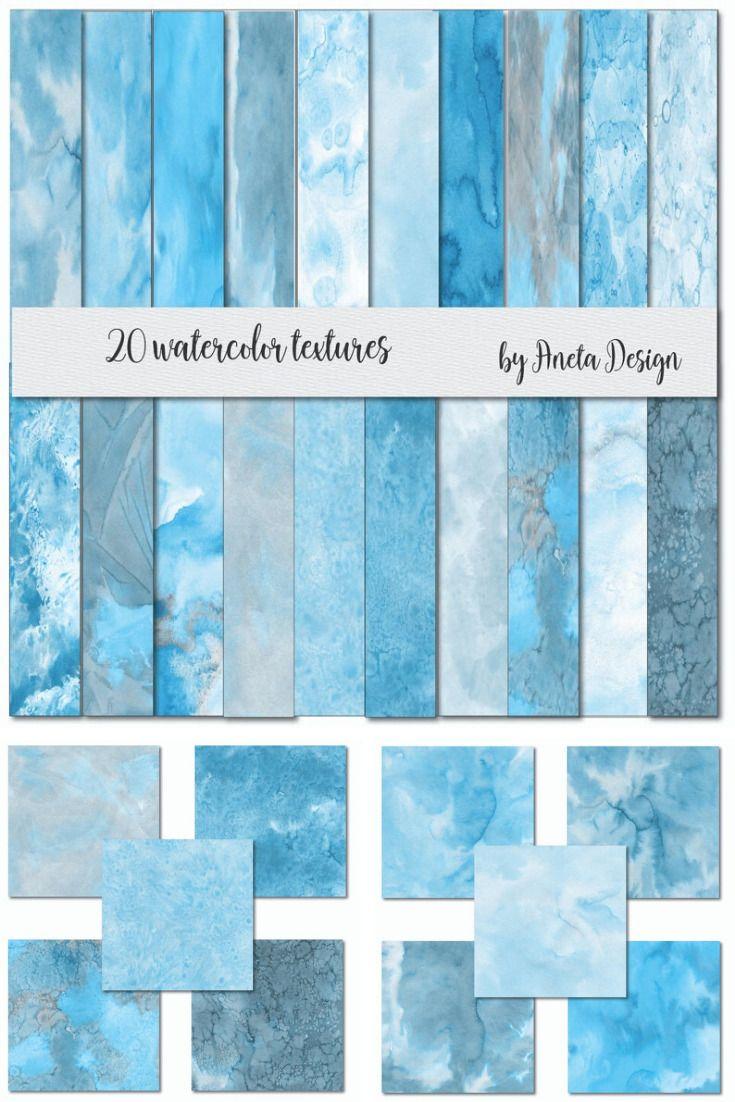 Blue Digital Papers Watercolor Blue Textures Blue Watercolor Digital Paper Hand Painted Watercolor Textures Blush Watercolor Textures In 2020 Watercolor Texture Blue Watercolor Digital Paper