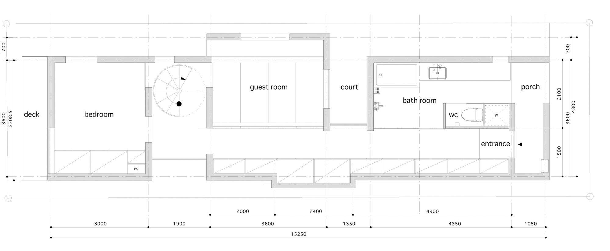 Dise os de casas construidas en terrenos angostos y largos for Distribuir casa planos