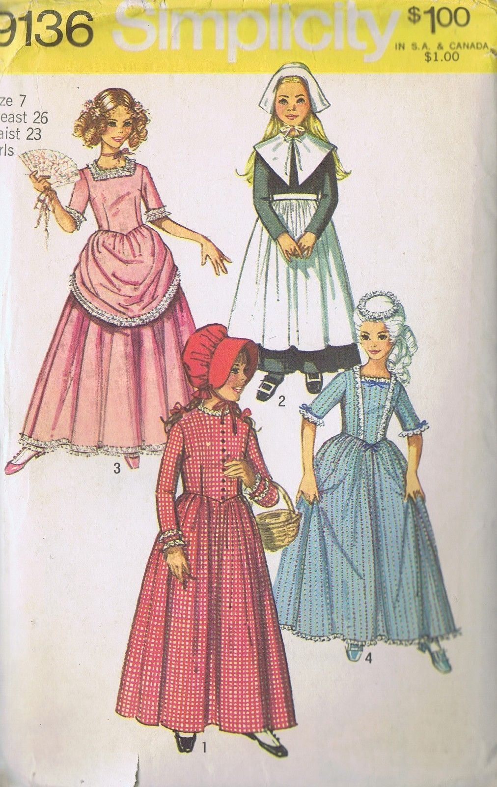 11a57bc059d8f0 COSTUME 18 AND 19TH CENTURY DRESS SEWING PATTERN GIRLS 9136 SIMPLICITY SZ 7  CUT | eBay