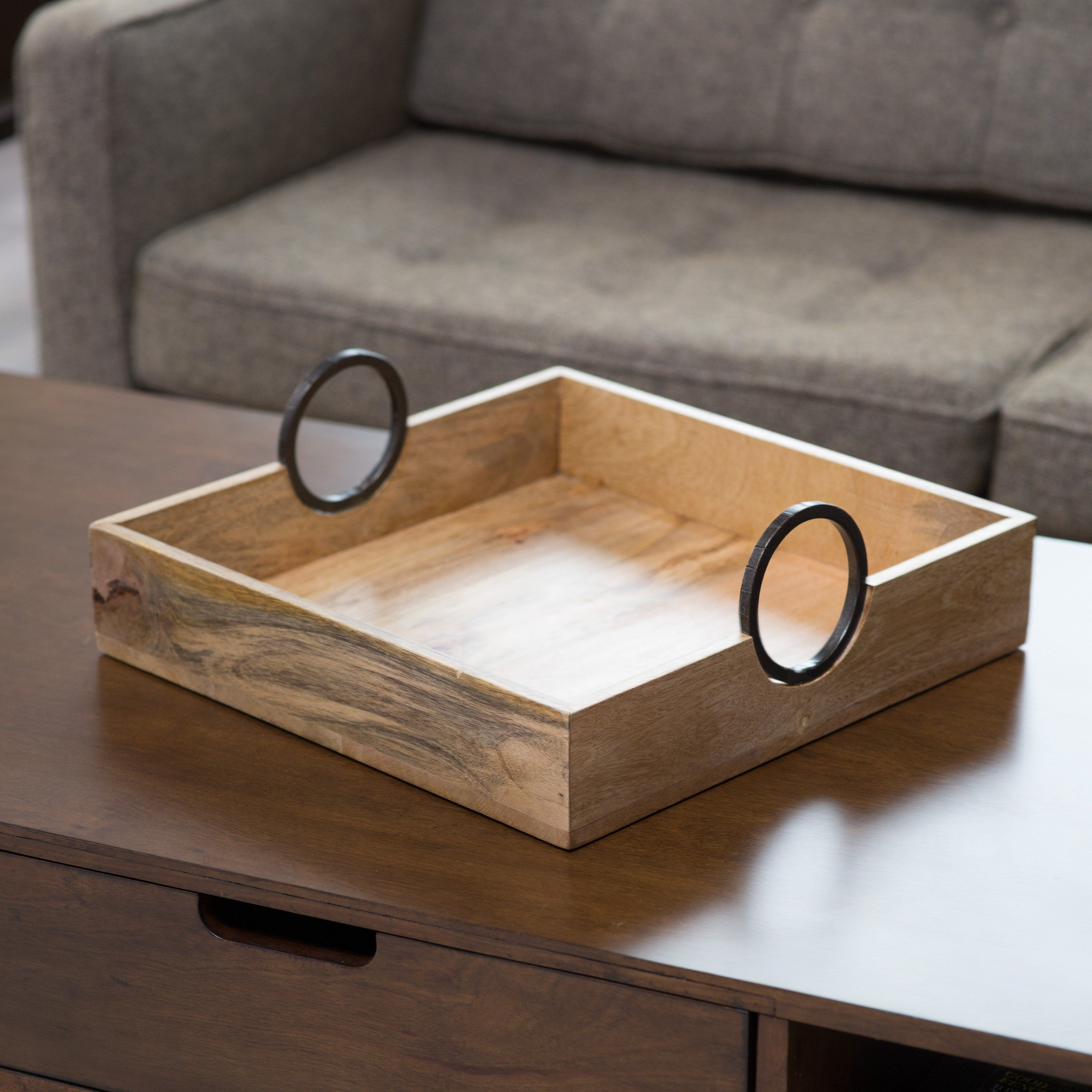 Cutler Bay Wood Serving Tray With Metal Handles From