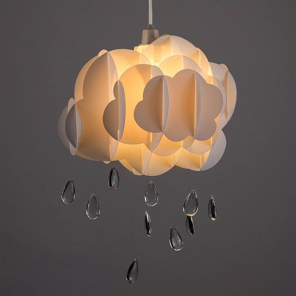 Cute Children S Bedroom Baby Nursery White Layered Rain Cloud With Acrylic Jewel Raindrop Water Droplets Ceiling Cot Mobile Pendant Light Shade