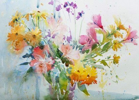 Spring Flowers in the Window, painting by artist Nigel Fletcher