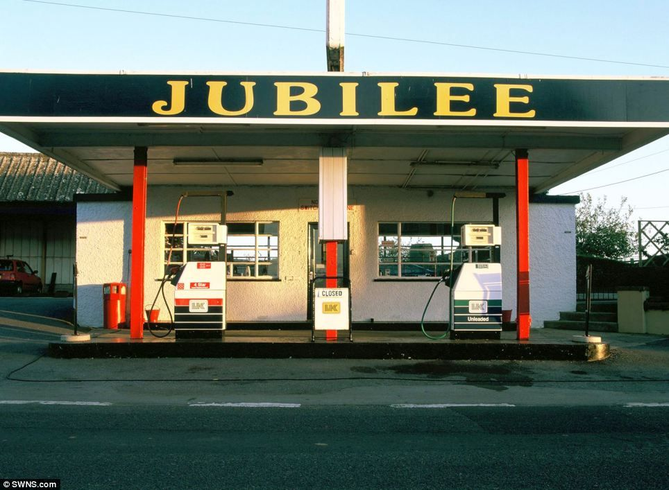 Old small petrol forecourt 1990's