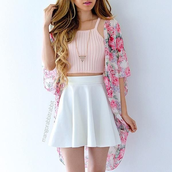 Light Pink Halter Neck Crop Top, White Mini Skirt, Pink And White Floral Kimono And Gold Triangle Necklace.