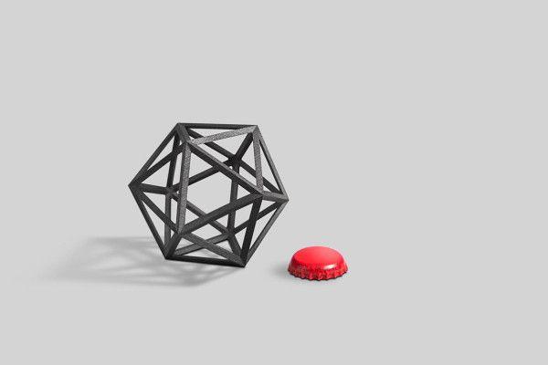 the Ico Bottle Opener in 3D Printed Black Steel
