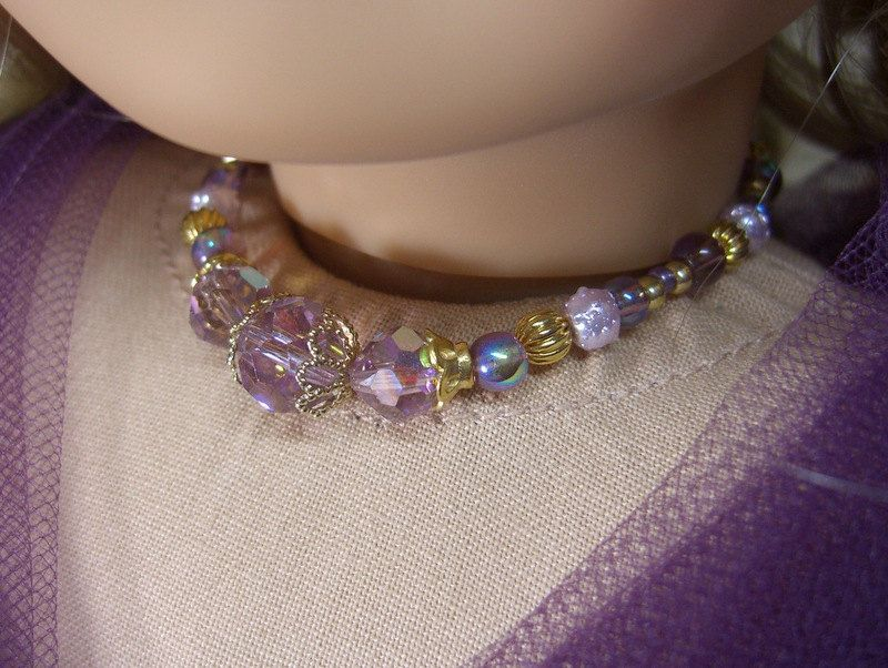 Reserved for Lorie: AMETHYST REGENCY NECKLACE for American Girl Dolls Glass Beads for Caroline, Cecile, Elizabeth