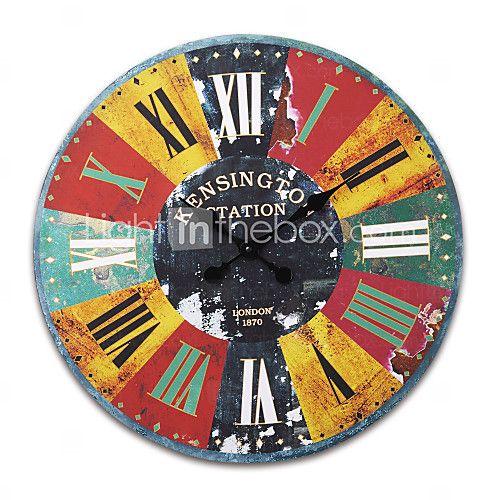 "23""H Retro Mechanical Style Wood Wall Clock - GBP £36.49"