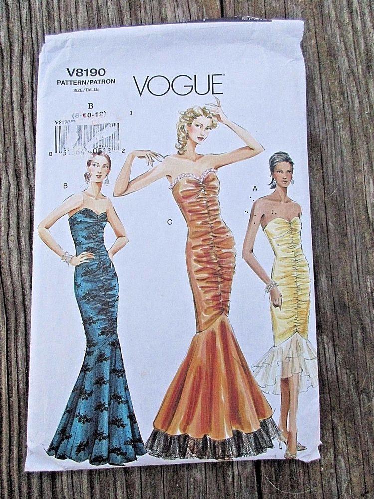 VOGUE V8190 Formal Gown Trumpet Dress Pattern B 8 10 12