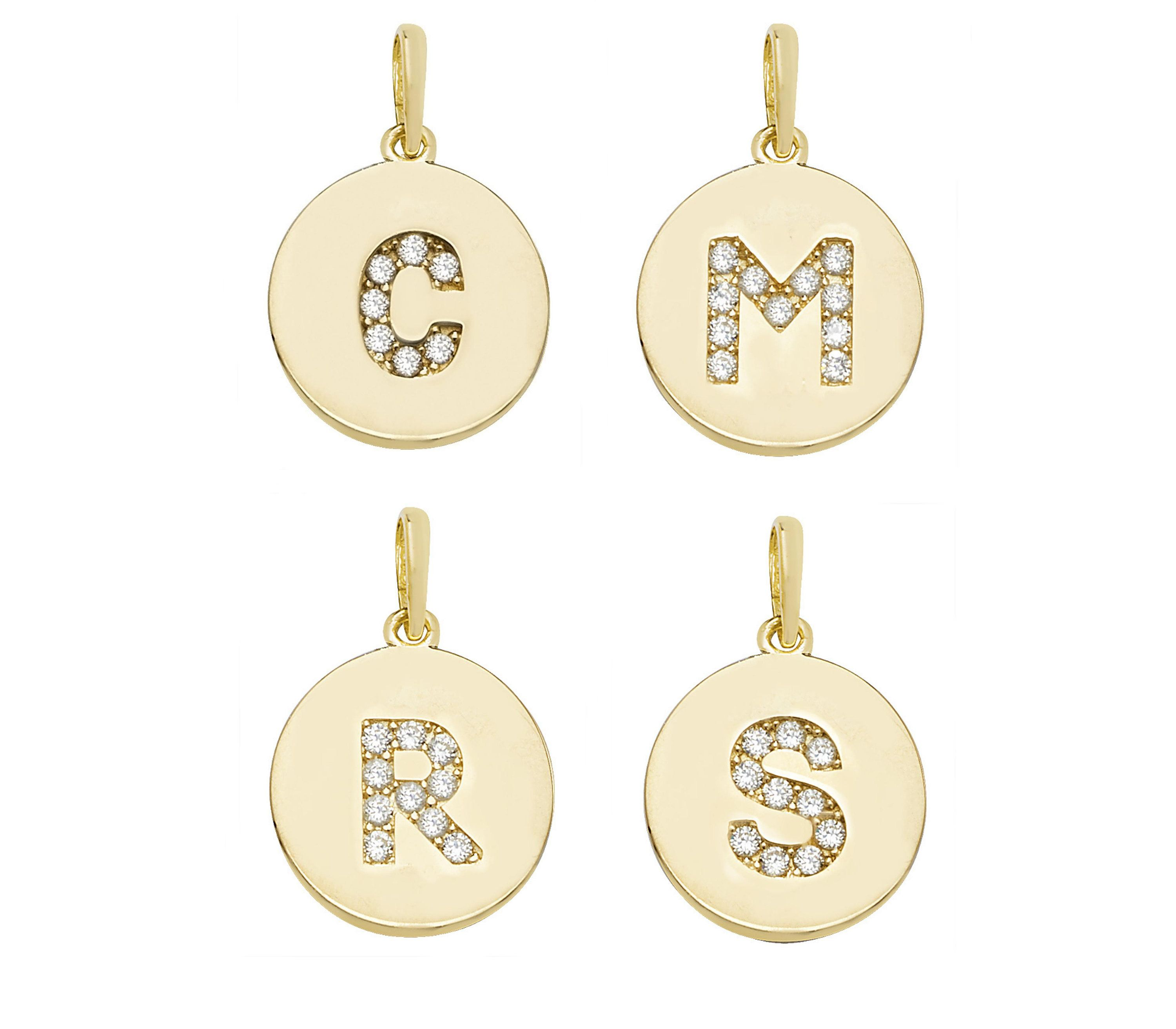 82cbbd5db Get Kaye Adams' look by wearing one of these gorgeous Personalised 9ct  Yellow Gold CZ Initial 13mm Round Disc Pendants.