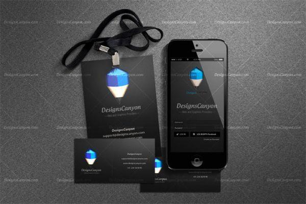 Black PSD Identity Mock-up Template 7_ mockup Pinterest Free - id card psd template