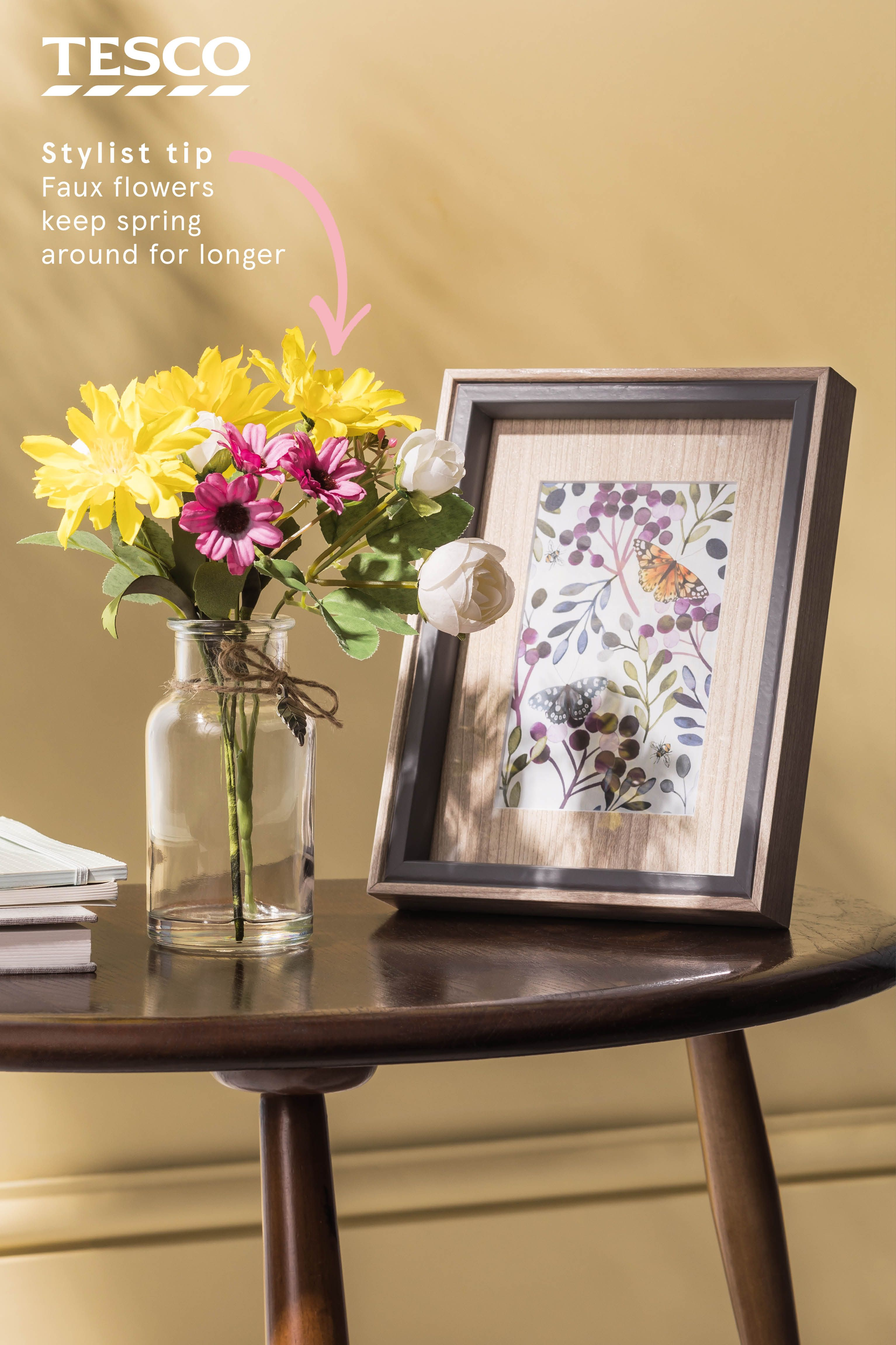 Colourful faux flowers will last all summer long and textured frames will make your favourite photos stand out available in selected tesco superstores and
