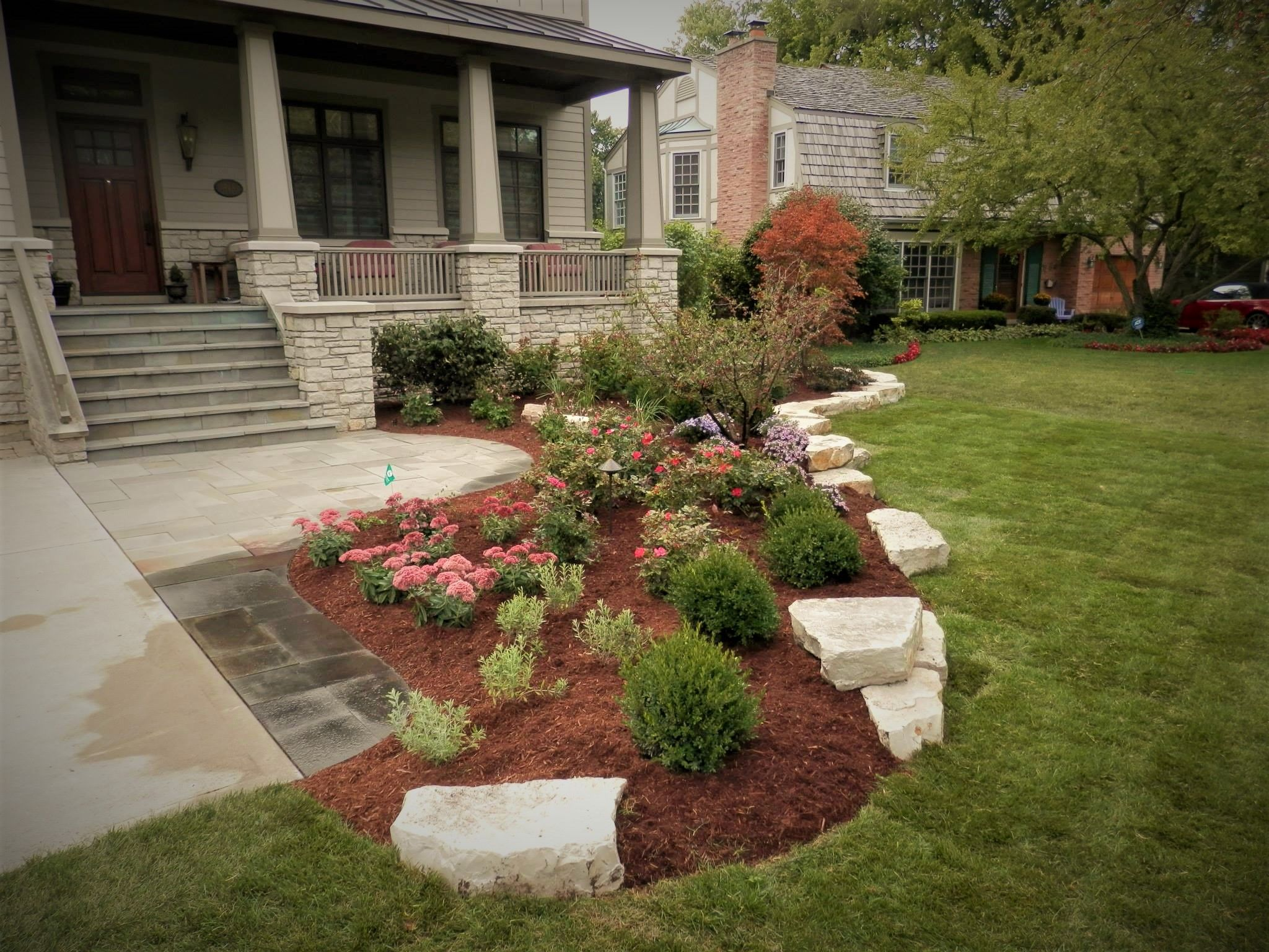Natural outcropping stone and Landscape Design in Glenview ...