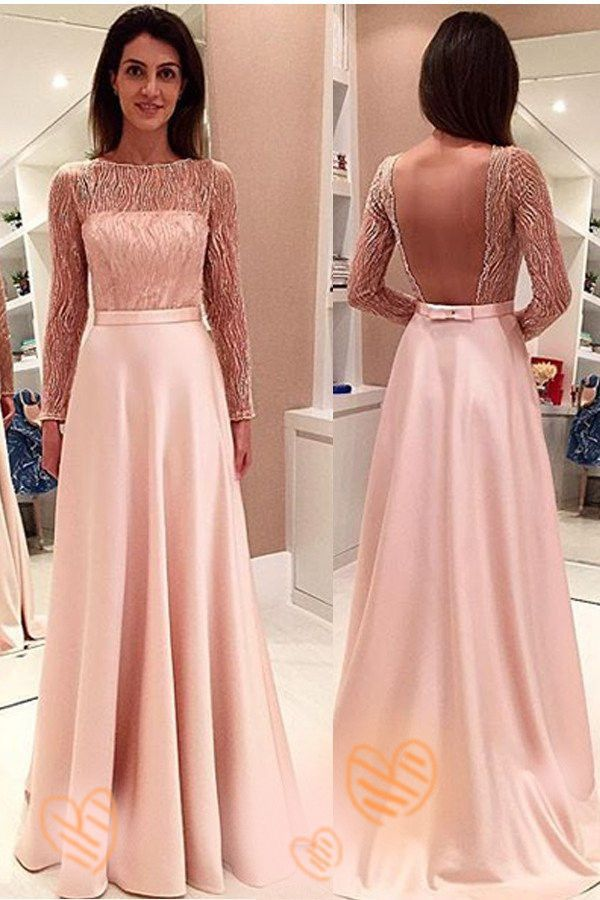 Pink Long Sleeves Backless Girly Cute Simple Cheap Prom Dresses K677 ...