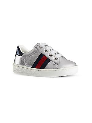d02b6d7d035 Gucci Baby Boy s   Toddler s Web-Trim Metallic Leather Low-Top Sne ...
