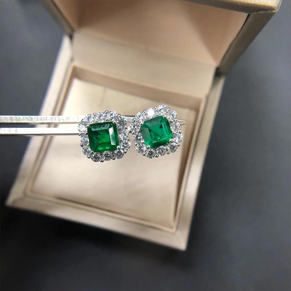 2020 的 Vintage Natural Emerald Earrings for Women Luxury
