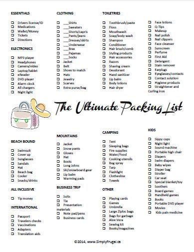 The Ultimate Packing List Printable Ultimate packing list and