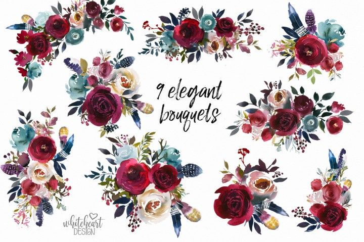 Merlot Navy Watercolor Floral Design Kit By Whiteheartdesign