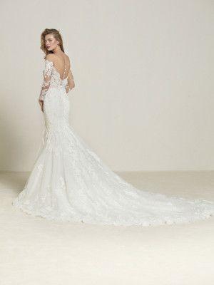 47eb2b2ed8 Vestido de novia sirena con cola larga