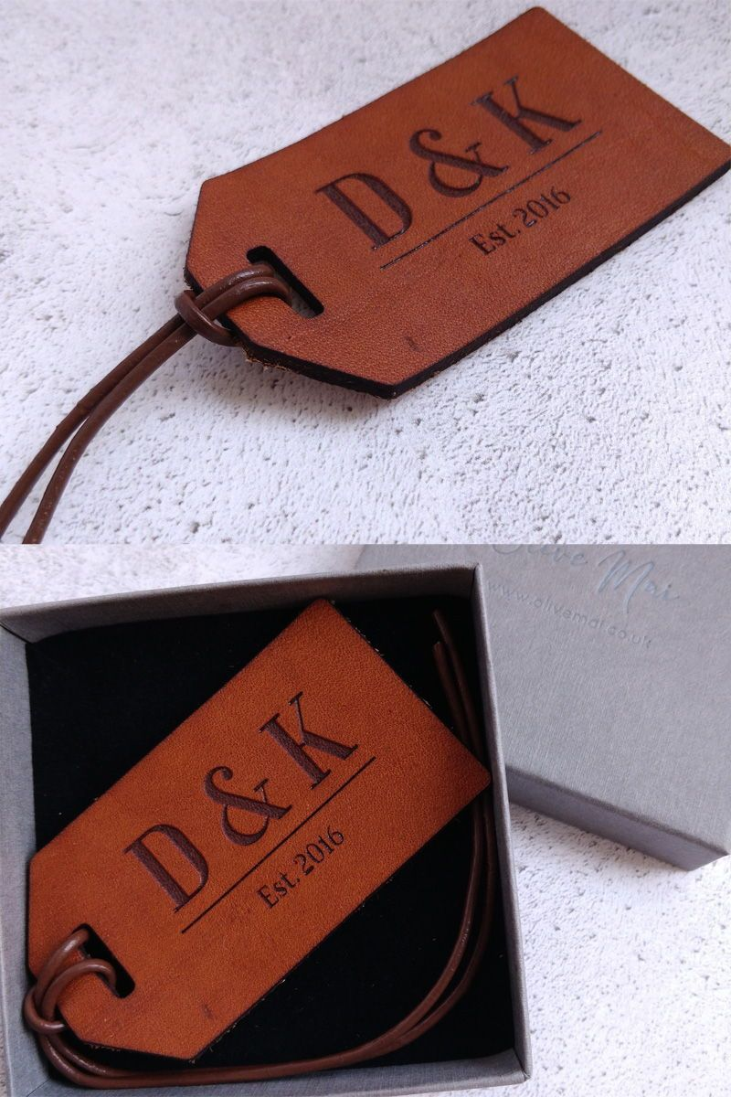 Leather Anniversary Luggage Tag, Custom 3 Year Anniversary