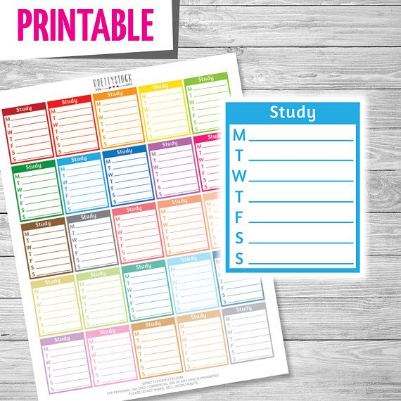 Weekly Study Stickers, Printable Study Schedule Full Box, Study - weekly study schedule