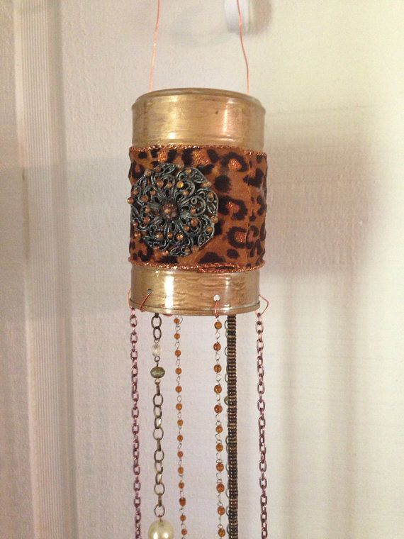 Pumpkin and bells tin can upcycled windchime by RiverRatCrafts, $35.00