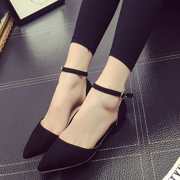 Ankle Strap Pointy Flats   Pointy flats