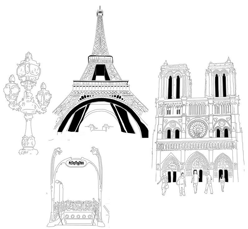 coloriage tour eiffel et notre dame coloriages adultes. Black Bedroom Furniture Sets. Home Design Ideas
