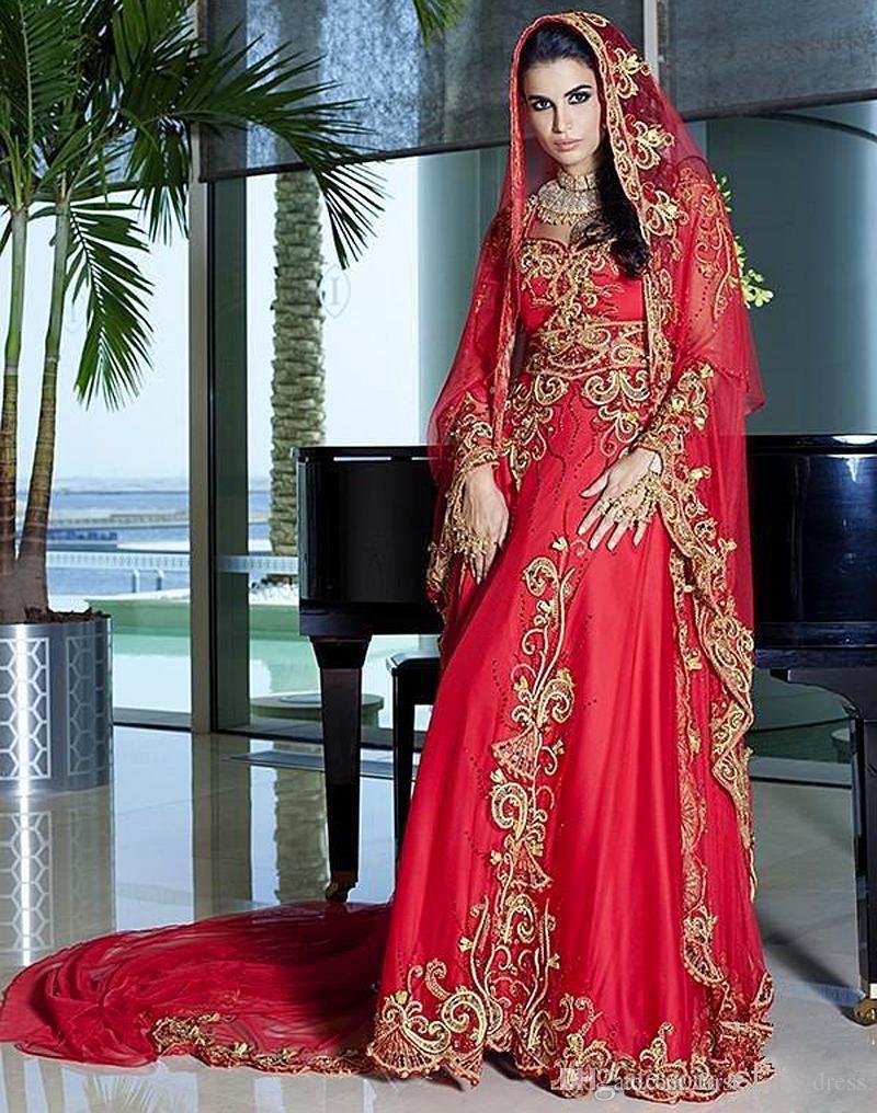 Discount Saudi Arabia Red Embroidery Wedding Dress India Evening ... 8f1fff0c96fb