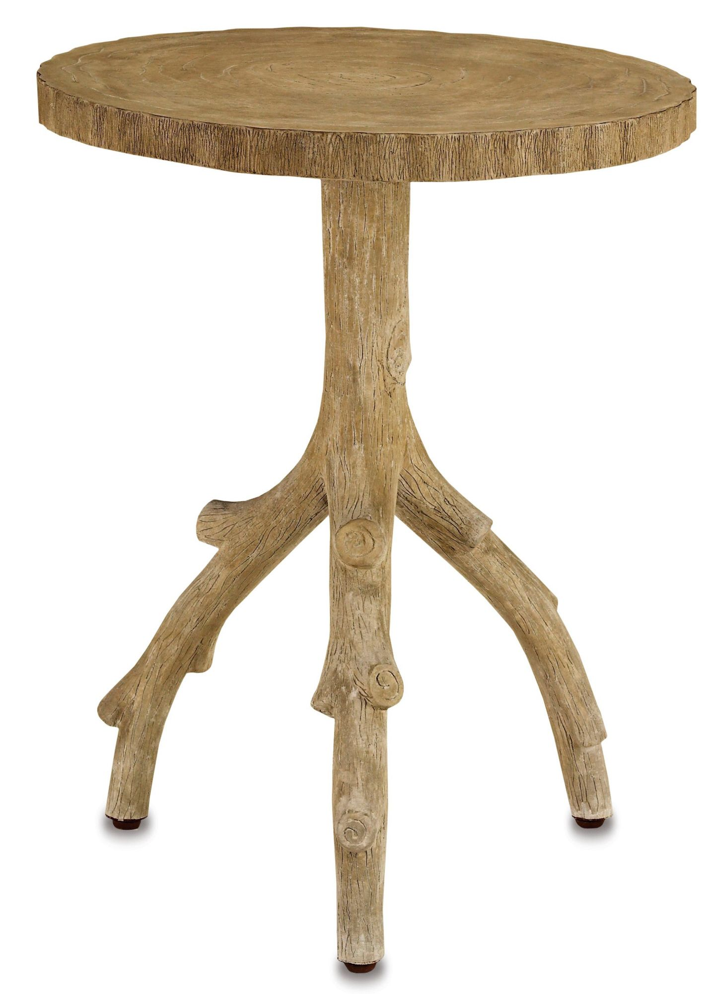 Currey & pany Rustic Faux Bois Tree Branch Side Table