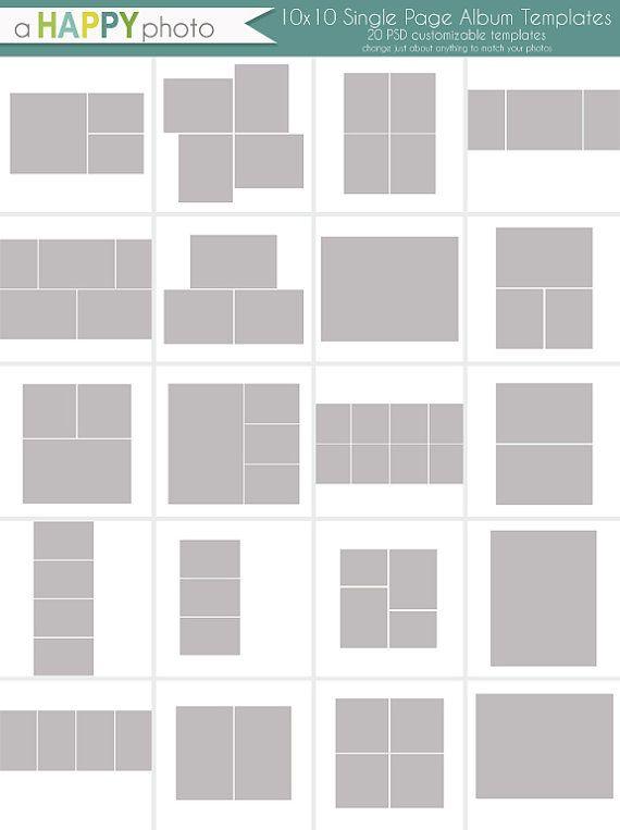 10 x 10 Album einfache Vorlagen Fotografen von ahappyphoto auf Etsy ...