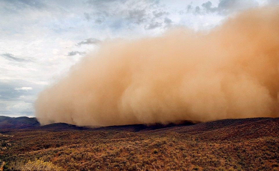 Northern Flinders Ranges, South Australia. A massive dust ...
