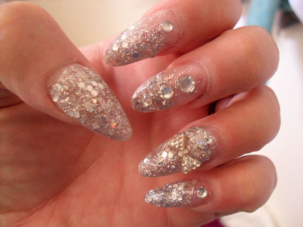 silver glitter with diamond bow and rhinestones acrylic