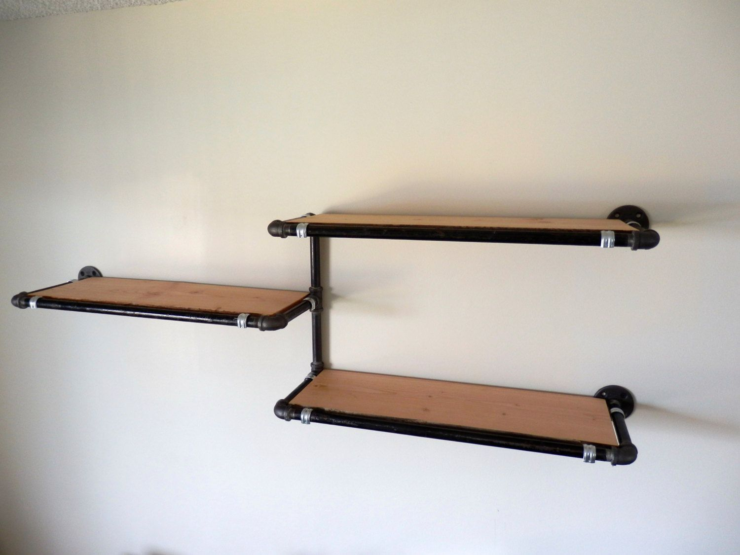 Black Shelves Wall pipe wall shelf with reclaimed wood custom pipederekgoodbrand