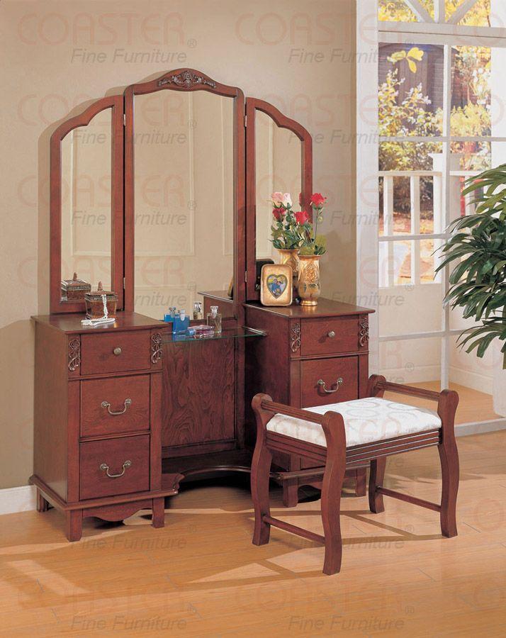 Coaster Vanity Set In Dark Brown With Tri Fold Mirror 300074 749 00
