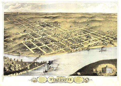 Historic Map – Kansas City, KS - 1869 | Panoramic Maps | Pinterest ...
