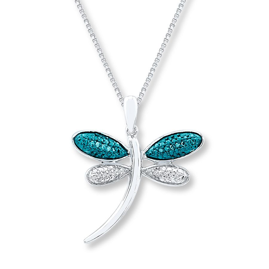 ac666dcbf Dragonfly Necklace 1/20 ct tw Blue Diamonds Sterling Silver - 173668601 -  Kay