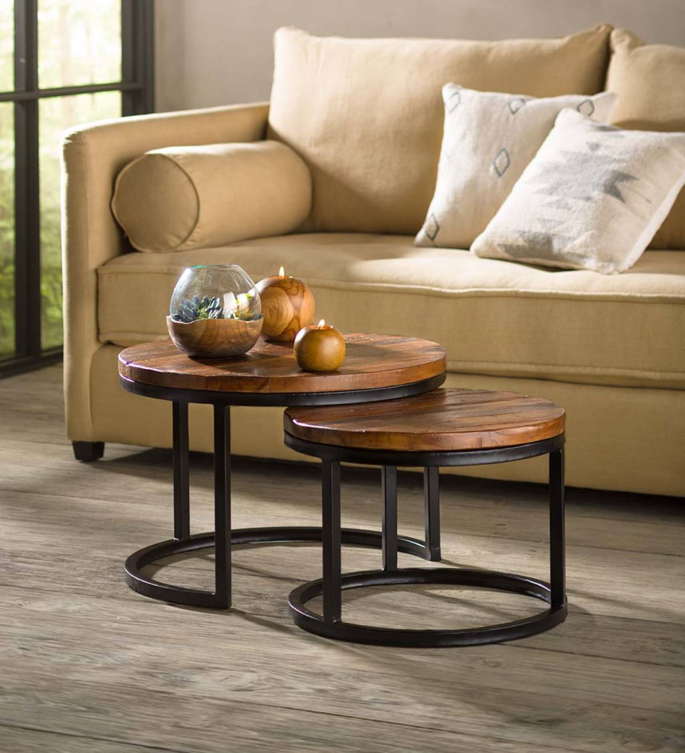 Reclaimed Wood Round Nesting Tables Set Of 2 Vivaterra In 2020 Coffee Table Nesting Tables Table Furniture