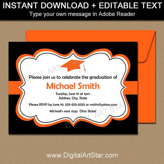 Printable Graduation Invitation in Black and Orange.  Type your own text in Adobe Reader.