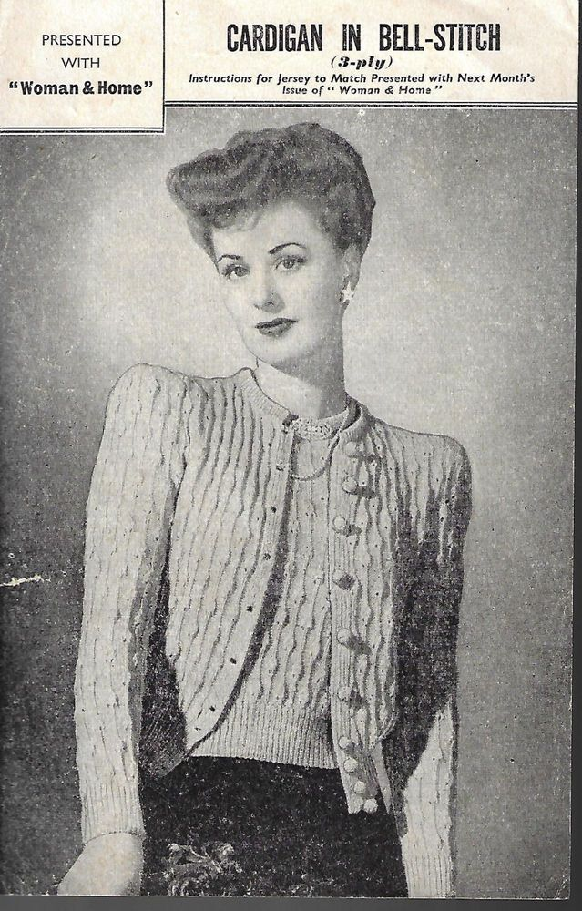 Womens 1940s Bell Stitch Cardigan Vintage Knitting Pattern