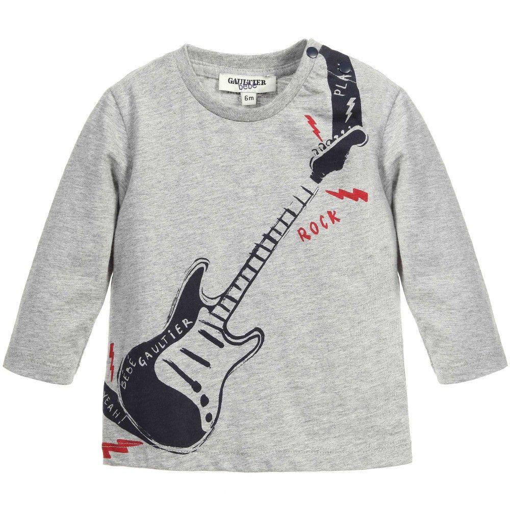 e81e600b Junior Gaultier Baby Boys Grey Top with Guitar Print at Childrensalon.com