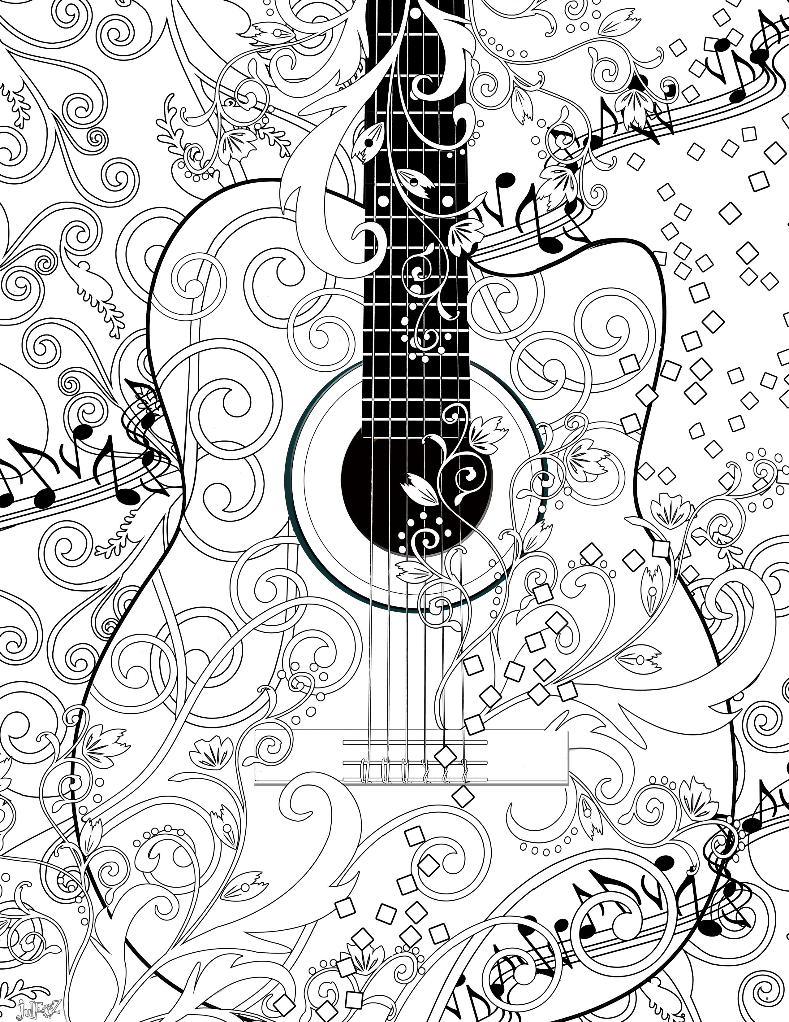 Cool Guitar Coloring Pages
