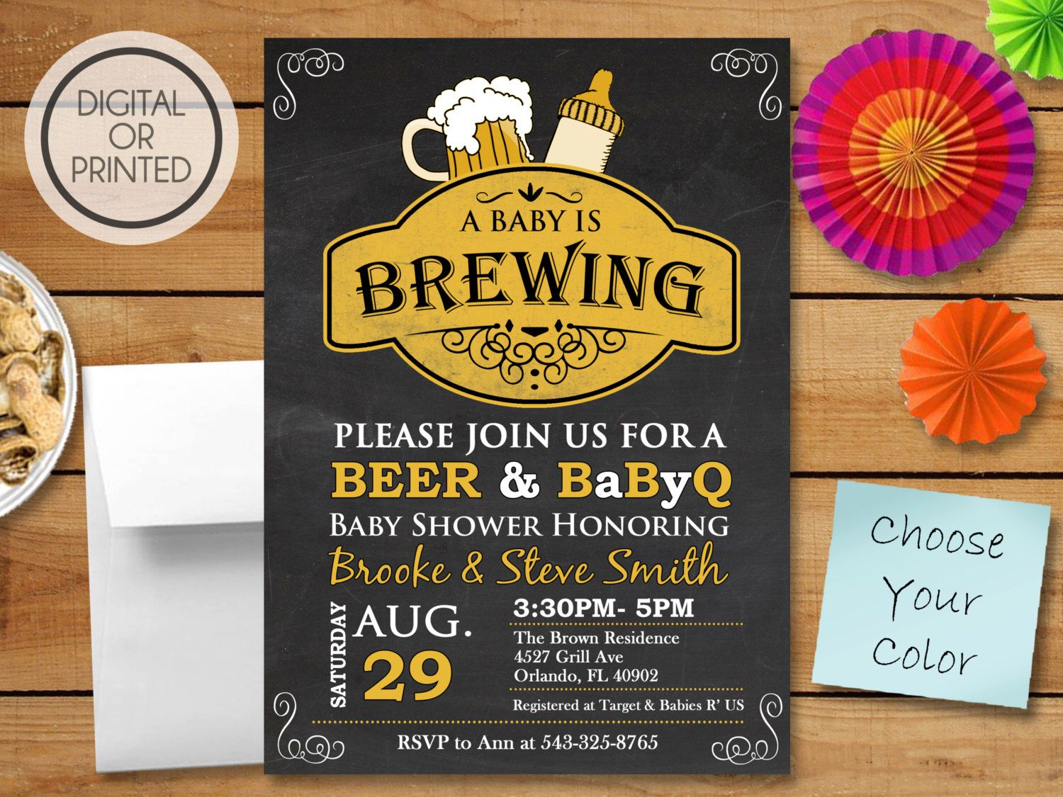 baby shower invitation wording for bringing diapers%0A A Baby is Brewing Invitation  BBQ Baby Shower Invitation  Baby Q Shower  Invitations
