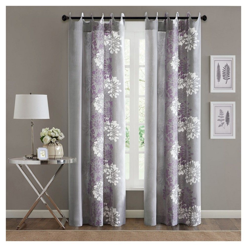 Ally Floral Printed Curtain Panel Purple White 50 X84 With