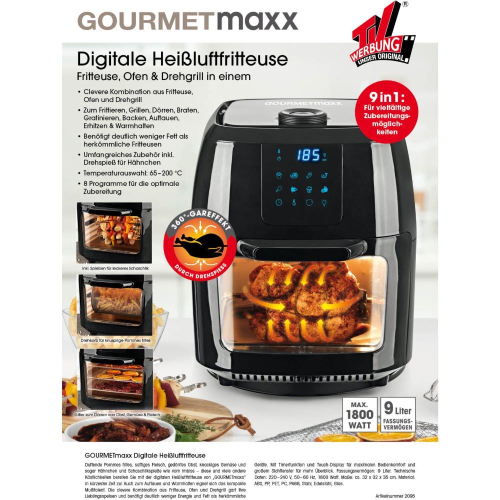 Gourmetmaxx Heissluft Fritteuse Digital 9 In 1 Online Kaufen Netto Gourmetmaxx Fritteuse Brotchen Aufbacken