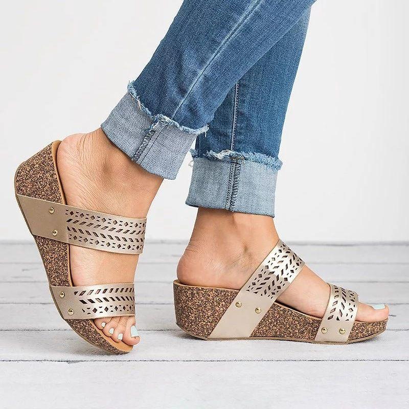 33cff59d229e Women Wedge Slippers Hollow Casual Comfort Laser Cut Sandals – Mollyca