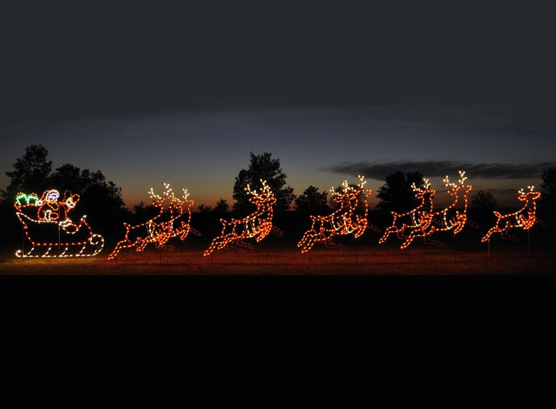 Large Led Santa Sleigh Amp Reindeer Reindeer Outdoor Decorations Outdoor Christmas Lights Outdoor Christmas